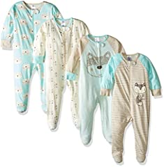 Gerber Sleep 'n Plays are the ultimate footie pajamas baby is sure to love! These soft footies are made with 100% cotton, a comfortable fabric that's perfectly breathable to prevent irritation against baby's delicate skin. They're appropriate...
