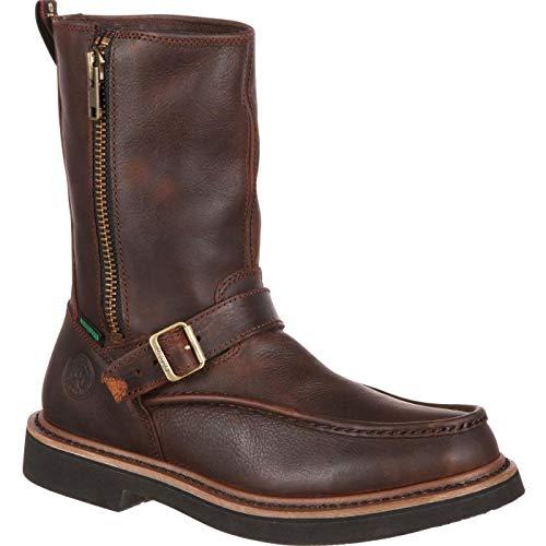 Men's Georgia Boots Side Zip Waterproof Work Wellington Brown