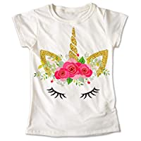 Blusa Unicornio Colores Playera Estampado Flores 001