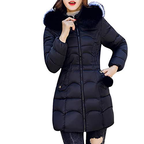 Limsea 2018 Women's Long Long Sleeved Hooded Warm Outwear Long Thick Fur Collar Cotton Parka Coat Slim Jacket (XXX-Large, Z1114BK) ()