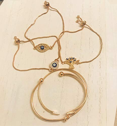 ISAACSONG.DESIGN Bohemian Evil Eye Love Knot Charm Adjustable Bolo Chain Link and Bangle Cuff Bracelet Set for Women and Girls (5 Pcs Evil Eye Set) by ISAACSONG.DESIGN (Image #4)