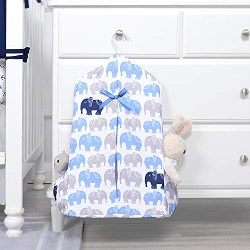[Upgraded] TILLYOU Hanging Nursery Diaper Storage Organizer Portable Foldable Diaper Caddy Stacker with Side Pockets for Crib, Machine Washable and Roomy Space, DIY 3 Parts Included, Navy Elephants