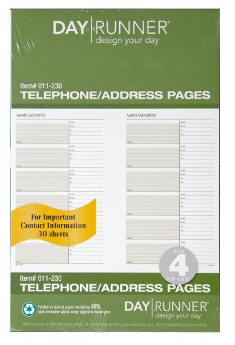 Day Runner Undated Planner Telephone and Address Refill, 5.5 x 8.5 Inches (011-230)