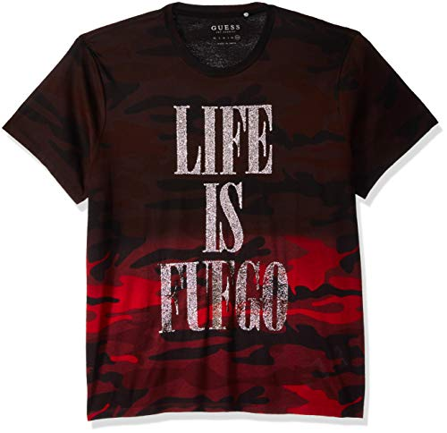 GUESS Men's Short Sleeve Basic Life is Fuego Crew Tee, Jet Black/Multi, L