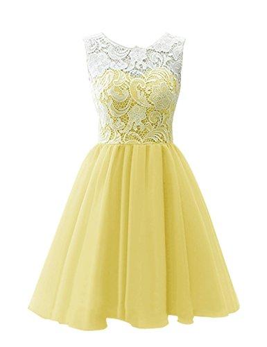 Tüll Gelb Tanzabend ärmellos Brautjungfernkleid Ballkleid Spitze A KekeHouse® Kurz Abendkleid Linie x8qX6IwS
