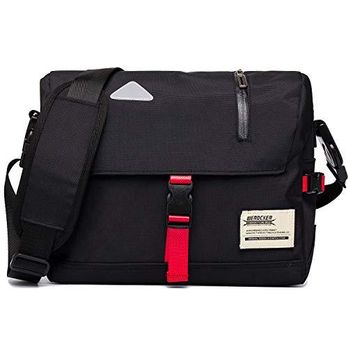 Messenger Bag Unisex Backpack Nylon Satchel Shoulder Crossbody Messenger Bag School Work Sport Fits 14 Inch Laptop Messenger Bag Men & Women Water Resistant Reflective Mark (Black)