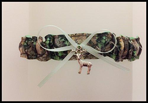 Sexy Camouflage Mint Green Satin Wedding Bridal Toss Demi Garter - Deer Charm