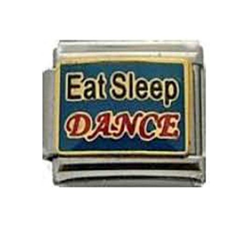 (Stylysh Charms Dance EAT Sleep Dance Music Melody Enamel Italian 9mm Link MD012)