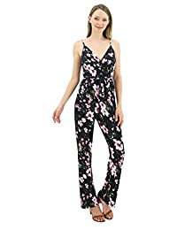 BENANCY Women's Printed V Neck Spaghetti Strap Jumpsuit Rompers with Pockets