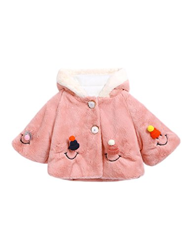 Girls Pink Embroidered Coat - 4