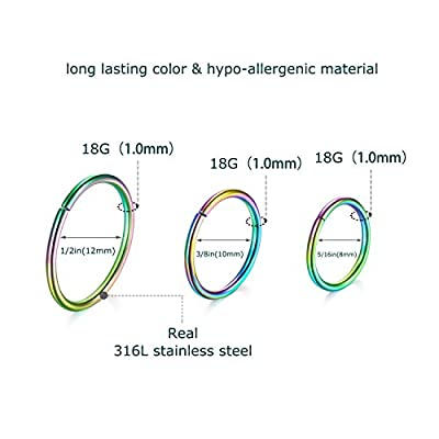 D.Bella Nose Hoop, 14pcs-18pcs 20G Nose Screws 8mm 10mm 12mm nose rings hoops rose gold silver gold faux body jewelry By
