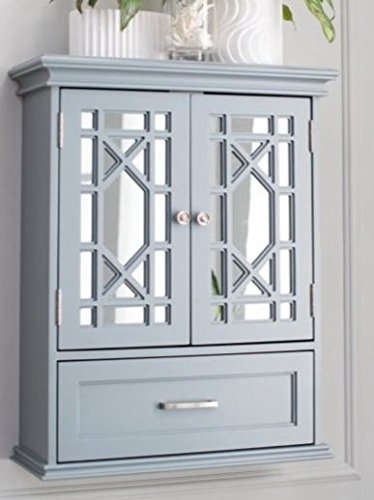 Bathroom Wall Cabinet Organizer - Double Door, Gray Premium Furniture