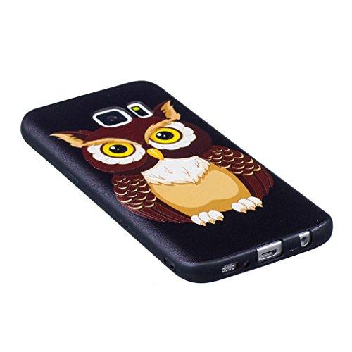 Trumpshop Smartphone Carcasa Funda Protección para Samsung Galaxy S7 edge (5,5 Pulgada) [Mariposa de oro] Serie Talla Ultra Suave Flexibles TPU Silicona Resistente a arañazos Caja Protectora Linda búho