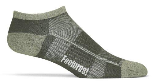 Feetures Women's Pure Comfort Ultra Light Cushion Low Cut Socks, Small (4-6.5), Light Olive/Dark Olive