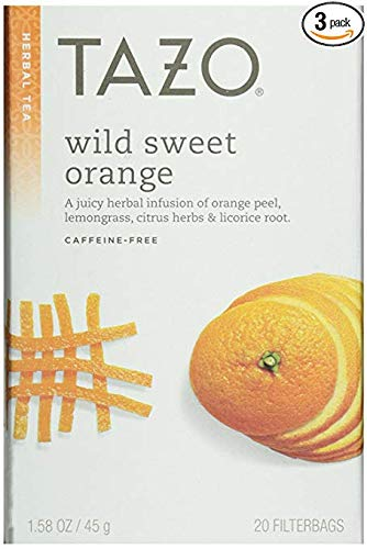 - Tazo Wild Sweet Orange Herbal Tea, 20 Count Box 1.58 ounce (Pack of 3)