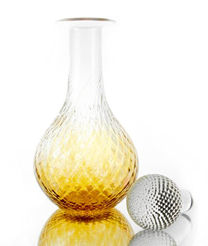 Amber Glass Decanter (Unique Hand Blown Decanter with Glass Ball Stopper, 25 ounce - Amber Ombré)