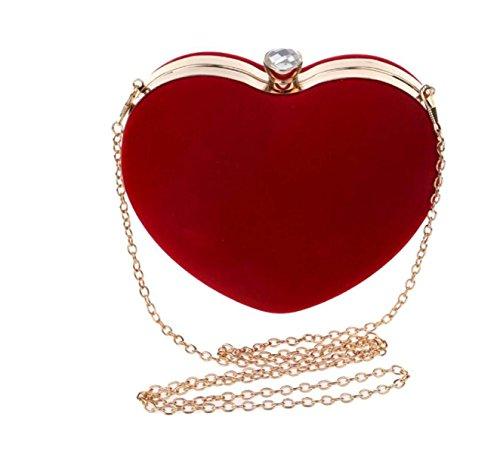 GSHGA Bolso De Gamuza En Forma De Corazón Bolso De Embrague Elegante Monedero Para La Boda Bolso De Noche De Baile De Fin De Curso Red