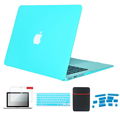 - Se7enline MacBook Pro Case for Mac Book 13 inch Pro A1278 Accessories Soft-Touch Plastic Hard Case Soft Sleeve Bag, Silicone Keyboard Cover Skin, LCD Screen Protector, Dust Plug, Turquoise/Hot Blue