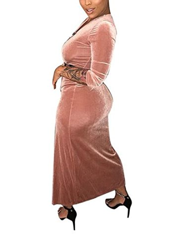 Long Sleeve Pink Dress Chic Bodycon Gold Women's Maxi Coolred Bandage Velvet qCwZnR115E