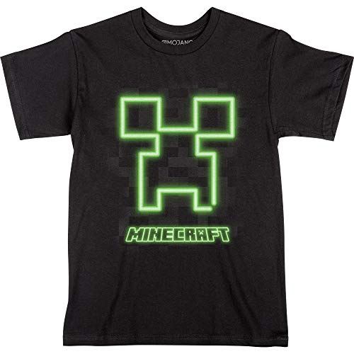 JINX Minecraft Neon Creeper Face Boys' Tee Shirt, Black, Large (Best Minecraft Forge Mods 1.8)