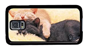 Hipster sparkly Samsung Galaxy S5 Case sleeping kitties PC Black for Samsung S5