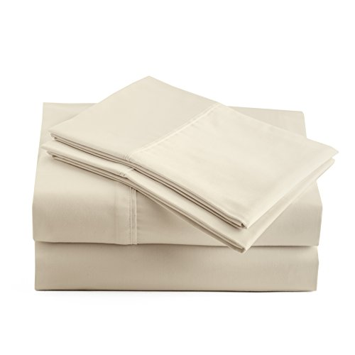 Peru Pima - 415 Thread Count - 100% Peruvian Pima Cotton - Percale - Bed Sheet Set (King, Ivory)
