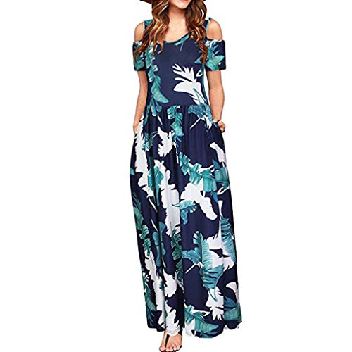 iBOXO Women's Summer Off-Shoulder Print Maxi Dress Bohemian Beach Dress with Pocket(Navy,L)