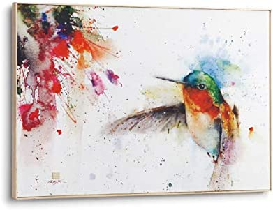 DEMDACO Dean Crouser Jewel Hummingbird Large Wrapped Canvas Print 20 x 30 Ash Wood Framed Wall Art Plaque