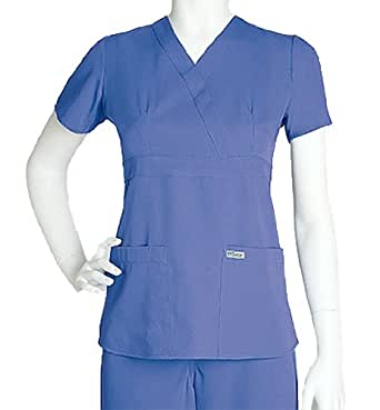 Scrubs - Greys Anatomy by Barco Uniforms Junior Fit #4153 3 Pocket Mock Wrap Scrub Top Concord, XXXX-Large