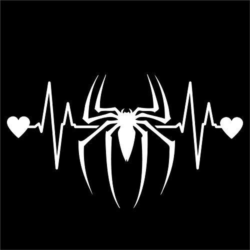 Ultimate Spiderman Ps2 Costumes (DD167 Spiderman Inspired Heartbeat Decal Sticker | 7-Inches By 3.9-Inches | Premium Quality White)