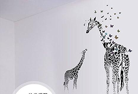 Skyllc® Desmontable jirafa de la mariposa Silueta Verde moderno decorativo Arte pintado pared para el dormitorio de la sala de entrada: Amazon.es: Hogar