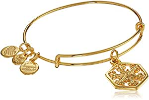 Alex and Ani Amazon Exclusive Snowflake Bangle Bracelet, Shiny Gold