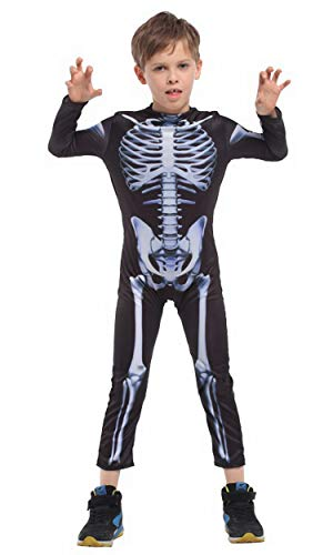 Brcus Children Skeleton Halloween Costumes Girls Boys Role Play Cosplay Jumpsuit Large(for height 120-130cm) ()