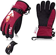 Vgo -20℃/-4℉ or Above 3M Thinsulate G80 Lined Kids' Skiing Gloves, Outdoor Gloves, Winter Gloves, Waterpro