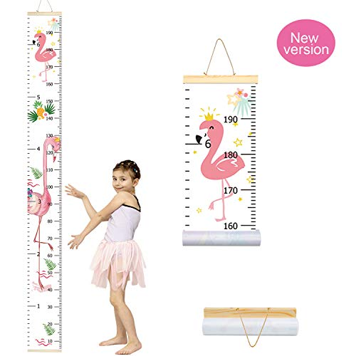 "Trendypie Kids Flamingo Growth Chart Baby Roll-up Wood Frame Canvas Fabric Removable Height Growth Chart Wall Art Hanging Ruler Wall Decor for Nursery Room Bedrooms 79""x7.9"""