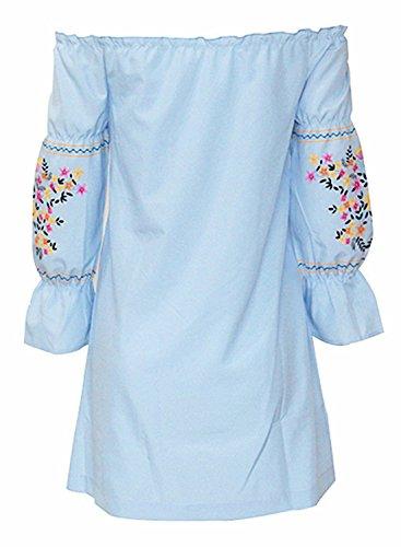 Azbro Mujer Mini Vestido Suelto Estampado Floral Fuera de Hombro Azul