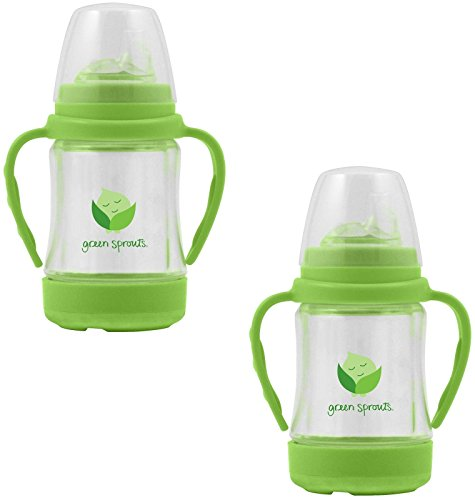 green sprouts by i play. Glass Sip & Straw Cup, Light Lime, 6 Months, 2 Pack