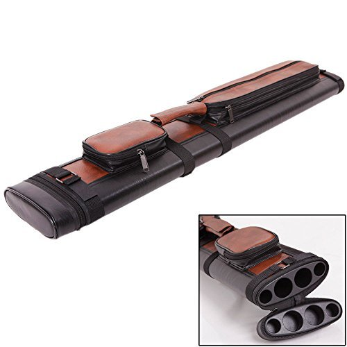 Leather 2x2 1/2 Billiard Stick Pool Hard Cue Tube Case Black & Brown Hole Pocket ()