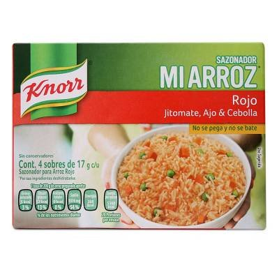 Price comparison product image Knorr Mi Arroz Rice Seasoning Mix, Red, (4 bags of 17 grms each in 1 Box)