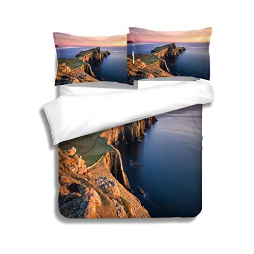 MTSJTliangwan Duvet Cover Set Sunset Over The Neist Point Lighthouse Isle of Skye Scotland UK 3 Piece Bedding Set with Pillow Shams, Queen/Full, Dark Orange White Teal ()