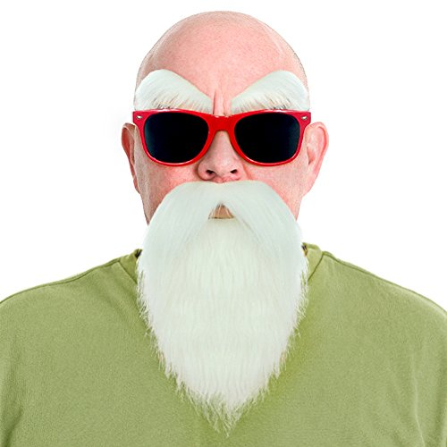[Dragon Ball Kame Sennin Master Roshi Costume White Beard Mustache With Glasses(Red)] (Master Roshi Costume)