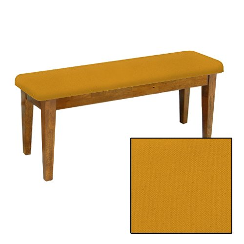 Shaker Design - Oak Dining Bench with a Padded Seat Cushion Featuring Your Choice of a Colored Canvas Covered Seat Cushion (Gold) (Banquette Furniture Patio)
