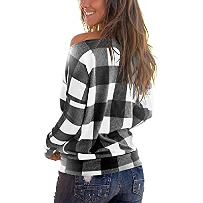 Cosonsen Women's Off Shoulder Top Long Sleeve Plaid Tee Shirt Blouse at Women's Clothing store