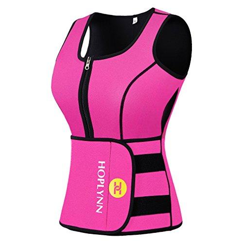 HOPLYNN Sweat Vest for Women, Adjustable Neoprene Sauna Waist Trainer Vest for Weight Loss Pink/L