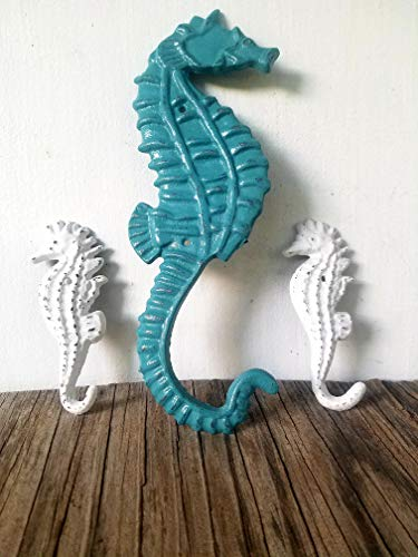 Vintage Teal and White Seahorse hook Trio - Bathroom Kitchen Nursery Decor – keys jewelry towel – unique shabby ()