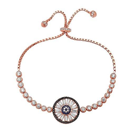 Crush + Fancy Crystal Baguettes Blue Eye Tennis Bracelet | 925 Sterling Silver Women's Tennis Bracelet with Baguettes | Crystal Tennis Bracelet | Adjustable Fit (Rose Tone - ELLE)