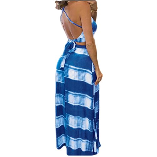 Sexy Col V Femmes Aro Lora Côté Imprimé Floral Fente Bleu Ciel Robe Maxi En Deux Parties