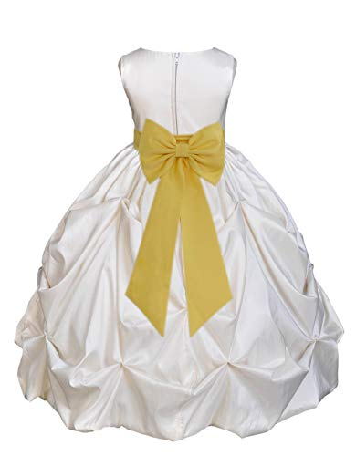 Ivory Satin Taffeta Pick-Up Bubble Junior Flower Girl Dress Birthday 301T 6