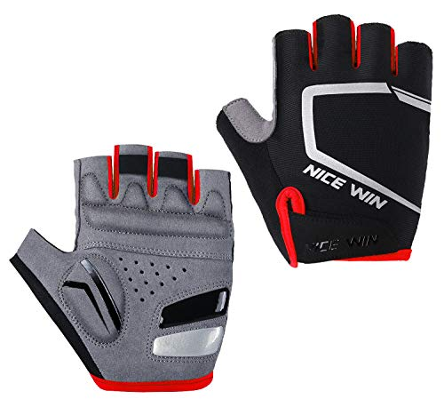 Cycling Gloves - Motorcycle/Mountain Bike - Half-Finger Workout Gloves Road Bicycle Glove for Men or Women Red M