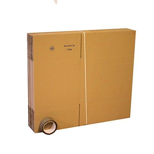 Lot de 10 cartons livres 40x30x30 + 1 adhésif gratuit 66m